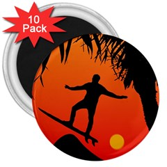 Man Surfing at Sunset Graphic Illustration 3  Magnets (10 pack)