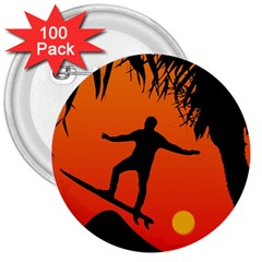 Man Surfing at Sunset Graphic Illustration 3  Buttons (100 pack)