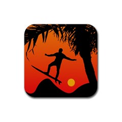 Man Surfing at Sunset Graphic Illustration Rubber Square Coaster (4 pack)