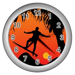 Man Surfing at Sunset Graphic Illustration Wall Clocks (Silver)