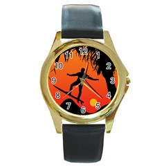 Man Surfing at Sunset Graphic Illustration Round Gold Metal Watch