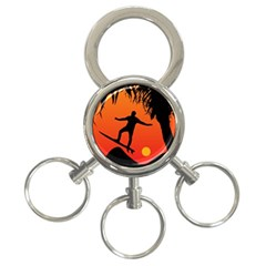 Man Surfing at Sunset Graphic Illustration 3-Ring Key Chains