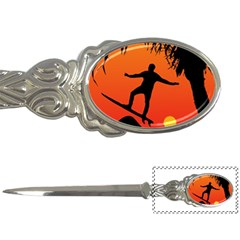 Man Surfing at Sunset Graphic Illustration Letter Openers