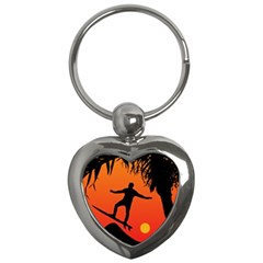 Man Surfing at Sunset Graphic Illustration Key Chains (Heart)