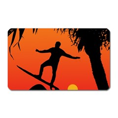 Man Surfing at Sunset Graphic Illustration Magnet (Rectangular)