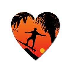 Man Surfing at Sunset Graphic Illustration Heart Magnet