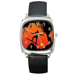 Man Surfing at Sunset Graphic Illustration Square Metal Watch