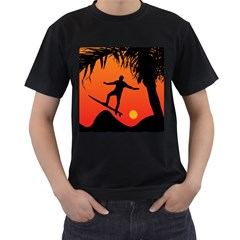 Man Surfing at Sunset Graphic Illustration Men s T-Shirt (Black) (Two Sided)