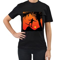 Man Surfing at Sunset Graphic Illustration Women s T-Shirt (Black) (Two Sided)