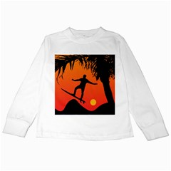 Man Surfing at Sunset Graphic Illustration Kids Long Sleeve T-Shirts