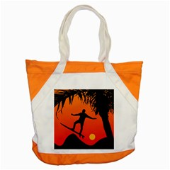 Man Surfing at Sunset Graphic Illustration Accent Tote Bag