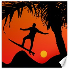 Man Surfing at Sunset Graphic Illustration Canvas 16  x 16
