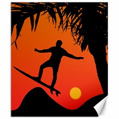Man Surfing at Sunset Graphic Illustration Canvas 20  x 24