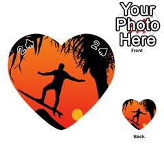 Man Surfing at Sunset Graphic Illustration Playing Cards 54 (Heart)