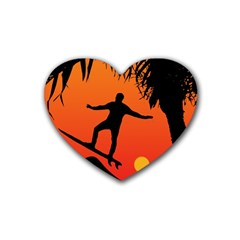 Man Surfing at Sunset Graphic Illustration Rubber Coaster (Heart)