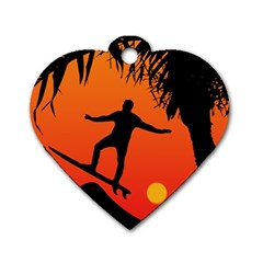 Man Surfing at Sunset Graphic Illustration Dog Tag Heart (Two Sides)