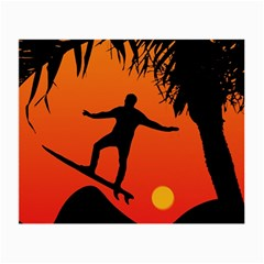 Man Surfing at Sunset Graphic Illustration Small Glasses Cloth (2-Side)