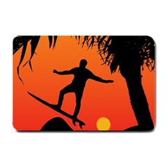 Man Surfing at Sunset Graphic Illustration Small Doormat