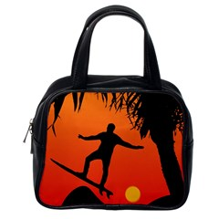 Man Surfing at Sunset Graphic Illustration Classic Handbags (One Side)