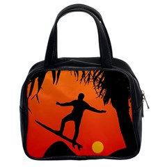 Man Surfing at Sunset Graphic Illustration Classic Handbags (2 Sides)