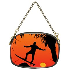 Man Surfing at Sunset Graphic Illustration Chain Purses (One Side)