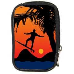Man Surfing at Sunset Graphic Illustration Compact Camera Cases