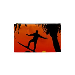 Man Surfing at Sunset Graphic Illustration Cosmetic Bag (Small)