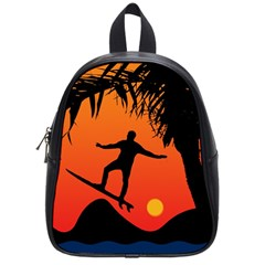 Man Surfing at Sunset Graphic Illustration School Bags (Small)