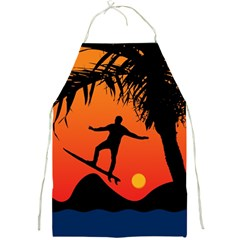 Man Surfing at Sunset Graphic Illustration Full Print Aprons
