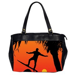 Man Surfing at Sunset Graphic Illustration Office Handbags (2 Sides)