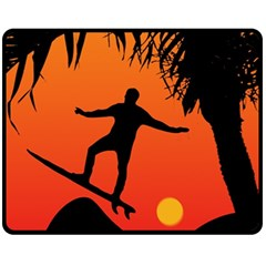 Man Surfing at Sunset Graphic Illustration Fleece Blanket (Medium)