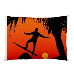 Man Surfing at Sunset Graphic Illustration Pillow Case (Two Sides)