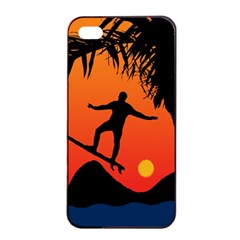 Man Surfing at Sunset Graphic Illustration Apple iPhone 4/4s Seamless Case (Black)