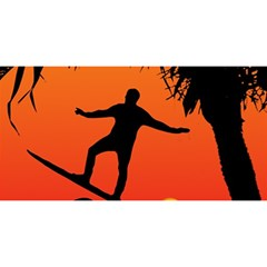 Man Surfing at Sunset Graphic Illustration YOU ARE INVITED 3D Greeting Card (8x4)