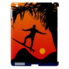 Man Surfing at Sunset Graphic Illustration Apple iPad 3/4 Hardshell Case (Compatible with Smart Cover)
