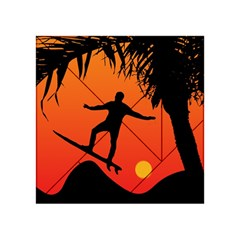 Man Surfing at Sunset Graphic Illustration Acrylic Tangram Puzzle (4  x 4 )