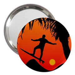 Man Surfing at Sunset Graphic Illustration 3  Handbag Mirrors