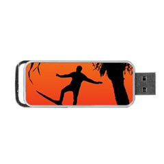 Man Surfing at Sunset Graphic Illustration Portable USB Flash (Two Sides)