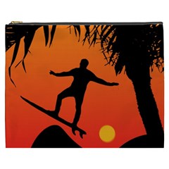 Man Surfing at Sunset Graphic Illustration Cosmetic Bag (XXXL)
