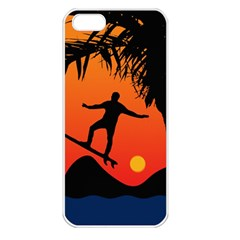 Man Surfing at Sunset Graphic Illustration Apple iPhone 5 Seamless Case (White)