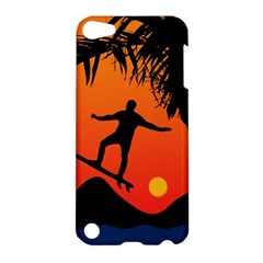 Man Surfing at Sunset Graphic Illustration Apple iPod Touch 5 Hardshell Case