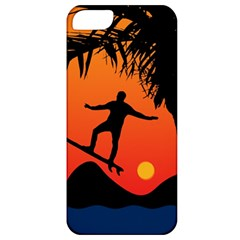 Man Surfing at Sunset Graphic Illustration Apple iPhone 5 Classic Hardshell Case
