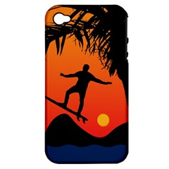 Man Surfing at Sunset Graphic Illustration Apple iPhone 4/4S Hardshell Case (PC+Silicone)