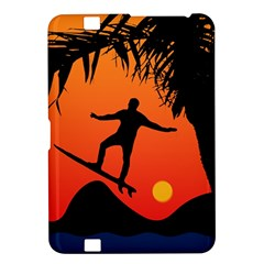 Man Surfing at Sunset Graphic Illustration Kindle Fire HD 8.9