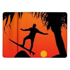 Man Surfing at Sunset Graphic Illustration Samsung Galaxy Tab 10.1  P7500 Flip Case