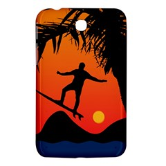 Man Surfing at Sunset Graphic Illustration Samsung Galaxy Tab 3 (7 ) P3200 Hardshell Case
