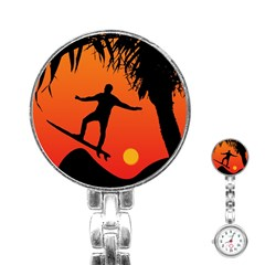 Man Surfing at Sunset Graphic Illustration Stainless Steel Nurses Watch