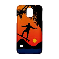 Man Surfing at Sunset Graphic Illustration Samsung Galaxy S5 Hardshell Case