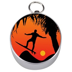 Man Surfing at Sunset Graphic Illustration Silver Compasses