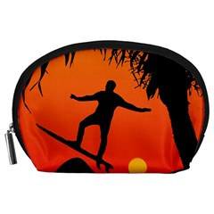 Man Surfing at Sunset Graphic Illustration Accessory Pouches (Large)